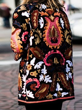 Ericdress Loose Print Fall Mid-Length Overcoat