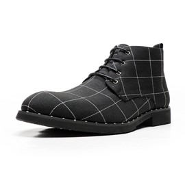 Ericdress Round Toe Lace-Up Front Plaid Men's Boots