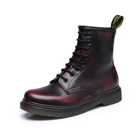 Ericdress Round Toe Lace-Up Front Color Block Women's Martin Boots