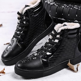 Ericdress Patchwork Lace-Up High-Cut Upper Round Toe Men's Snow Boots