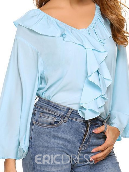 Ericdress Plain V-Neck Falbala Standard Three-Quarter Sleeve Blouse