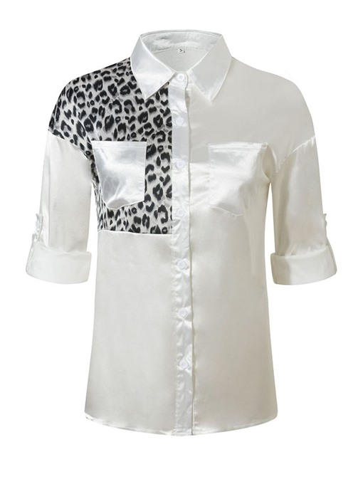 Ericdress Pocket Leopard Lapel Mid-Length Nine Points Sleeve Blouse