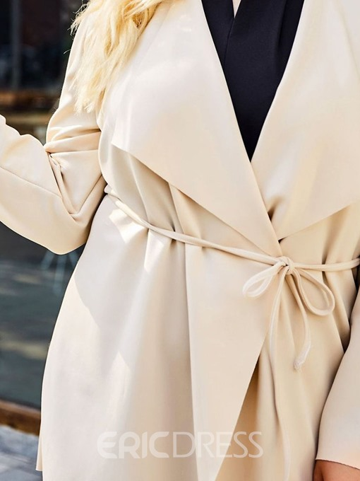 Ericdress Plus Size Mid-Length Long Sleeve Fashion Trench Coat