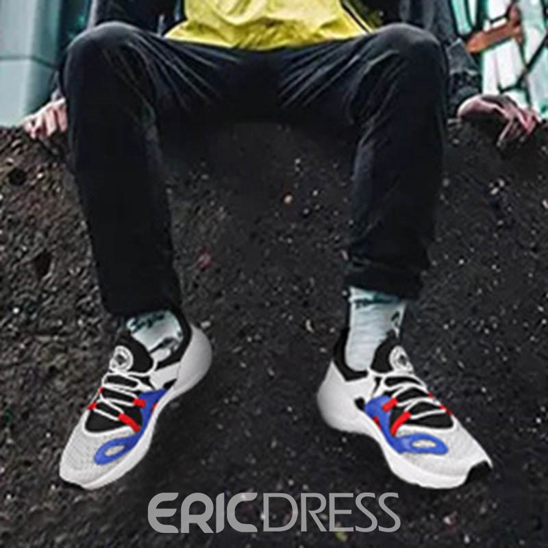 Ericdress PU Patchwork Lace-Up Low-Cut Upper Men's Sneakers