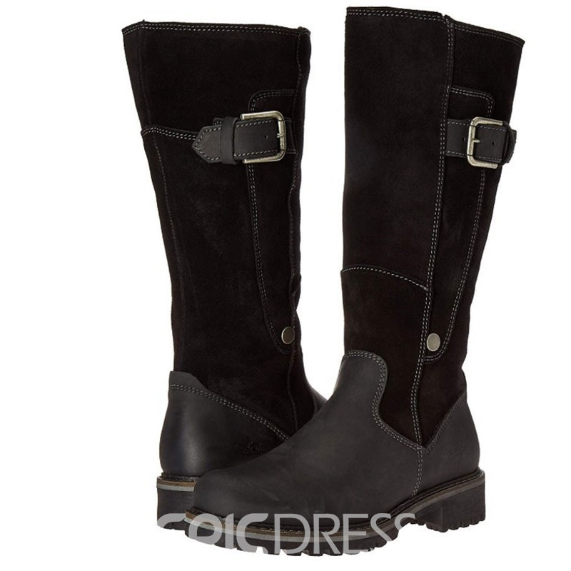 Ericdress Color Block Round Toe Side Zipper Women's Snow Boots