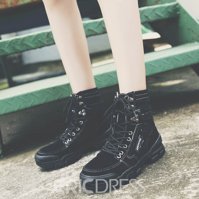 Ericdress Lace-Up Front Round Toe Color Block Men's Work Boots