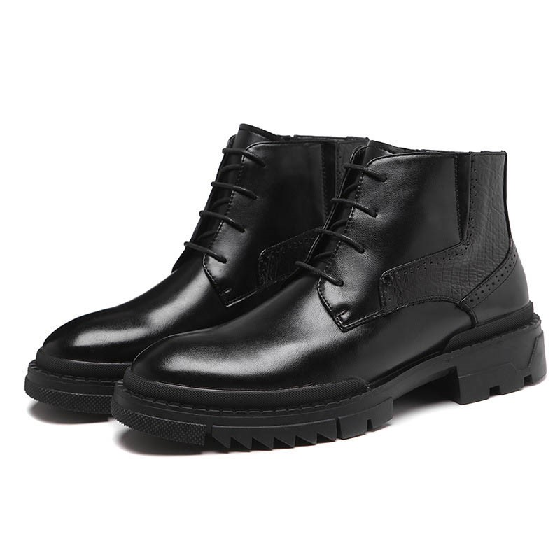 Ericdress Lace-Up Front PU Round Toe Men's Boots