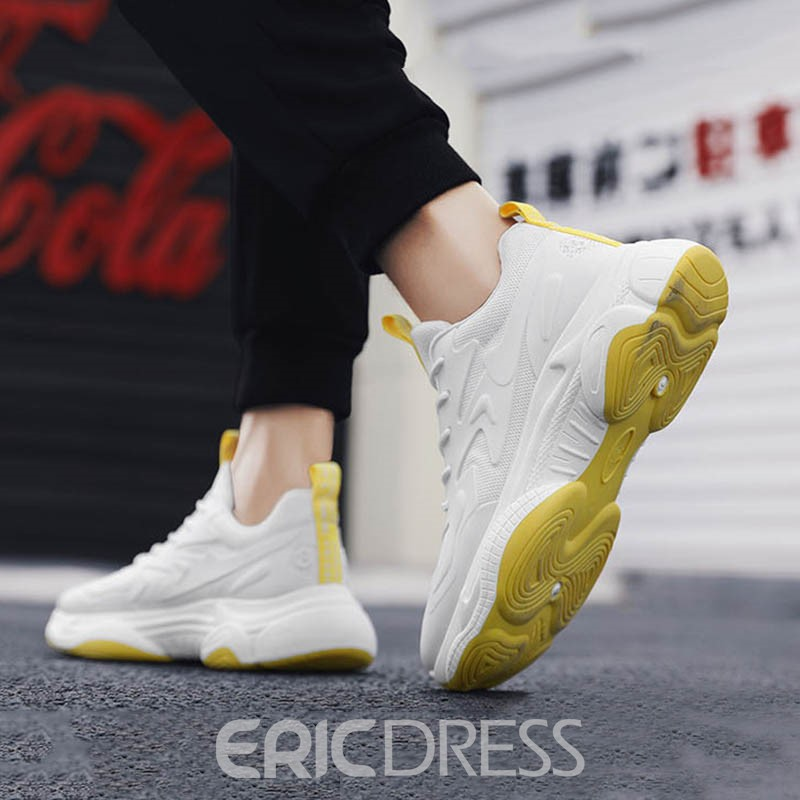 Ericdress Mesh Color Block Lace-Up Round Toe Men's Sports Shoes