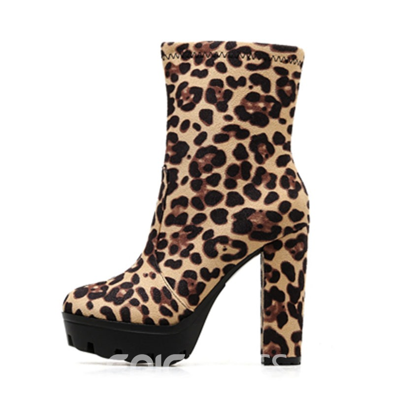 Ericdress Leopard Print Side Zipper Round Toe Women's Ankle Boots