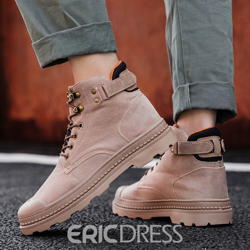 Ericdress Color Block Round Toe Lace-Up Front Men's Boots