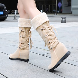 Ericdress Round Toe Patchwork Women's Calf High Snow Boots