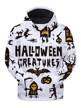 Ericdress Skull Print Casual Men's Pullover Halloween Costume Hoodies