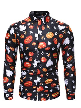 Ericdress Casual Print Skull Halloween Costume Slim Men's Shirt