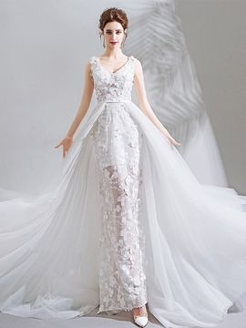 Ericdress Princess V-Neck Sleeveless Watteau Church Wedding Dress 2020