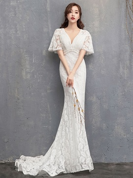 Ericdress Mermaid V-Neck Pick-Ups Church Lace Wedding Dress 2020