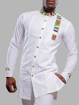 Ericdress African Fashion Dashiki Button Casual Single-Breasted Straight Men's Shirt