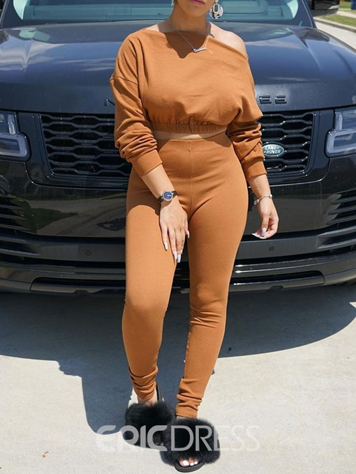 Ericdress Pants Plain Casual Pullover Two Piece Sets