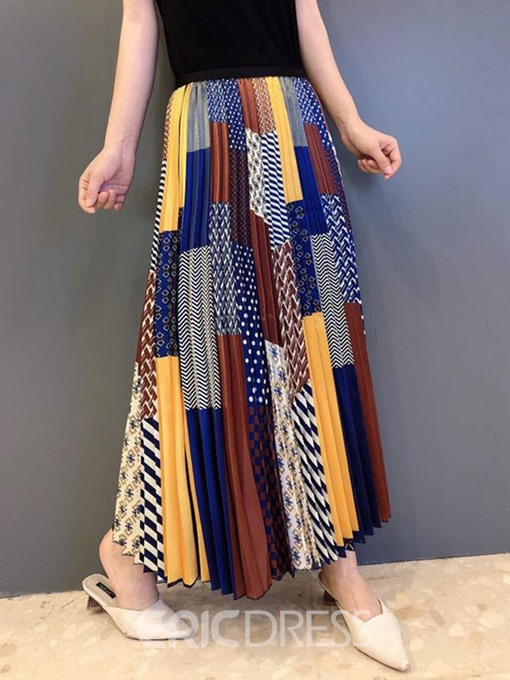 Ericdress Ankle-Length A-Line Color Block Skirt