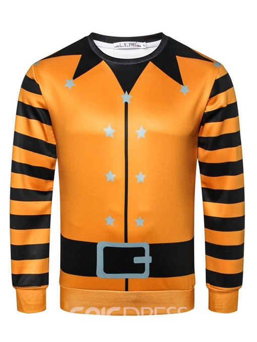 Ericdress Pullover Stripe Print Casual Halloween Costume Slim Men's Hoodies
