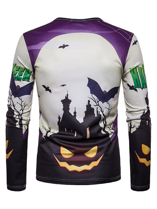 Ericdress Print Casual Round Neck Halloween Costume Men's Slim Shirt