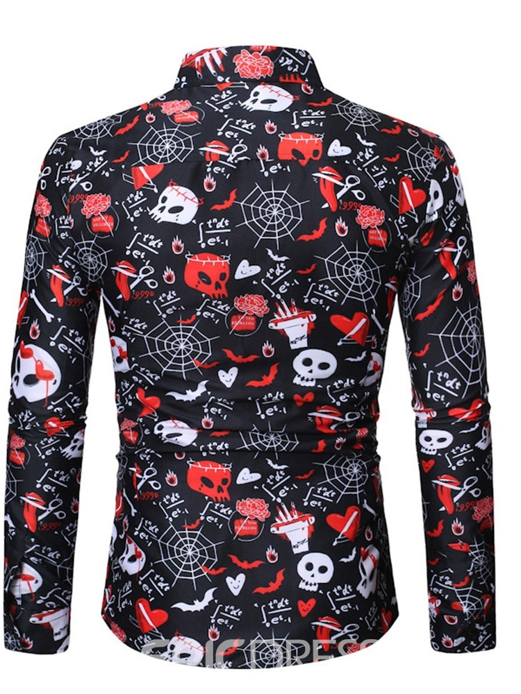 Ericdress Lapel Letter Casual Spring Single-Breasted Halloween Costume Men's Shirt