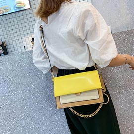 Ericdress PU Color Block Chain Rectangle Crossbody Bags