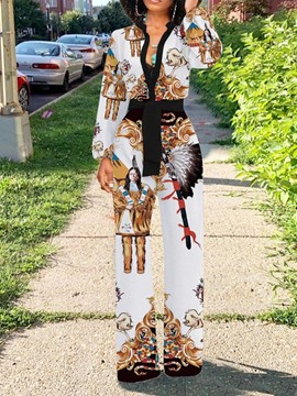 Ericdress African Fashion Dashiki Animal Lace-Up Full Length Loose Jumpsuit