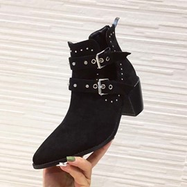 Ericdress Rivet Pointed Toe Back Zip Casual Women's Ankle Boots
