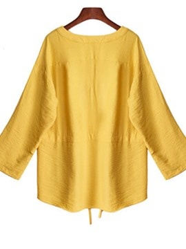 Ericdress Plus Size V-Neck Plain Standard Long Sleeve Blouse