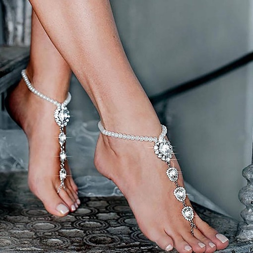 Ericdress Plain Rhinestone Beads Anklets