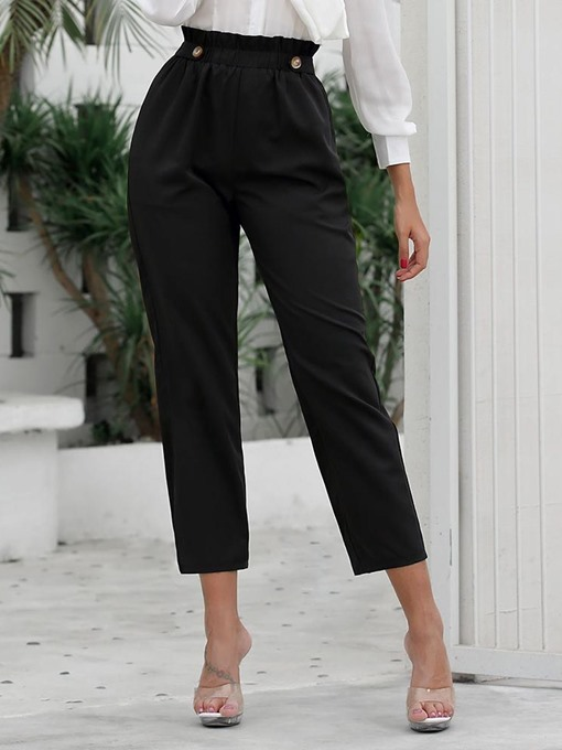 Ericdress Plain Slim High Waist Ankle Length Casual Pants