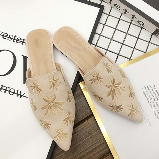Ericdress Embroidery Closed Toe Block Heel Slip-On Women's Mules Shoes