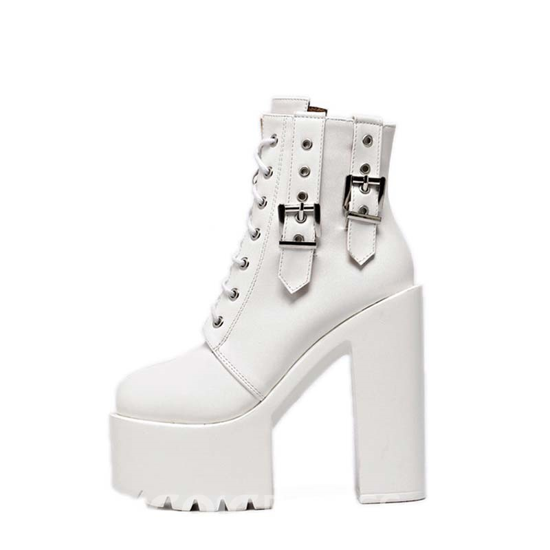 Ericdress Plain Lace-Up Front Round Toe Chunky Heel Women's Ankle Boots