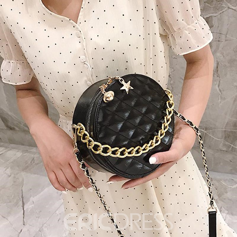 Ericdress PU Plaid Chain Circular Crossbody Bags
