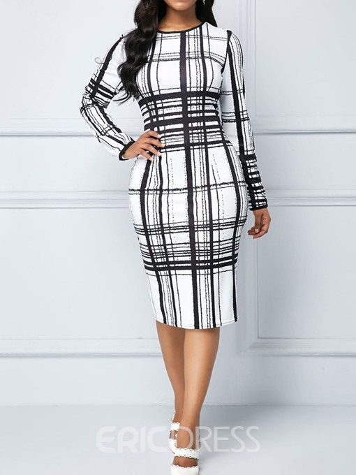 Ericdress Print Round Neck Mid-Calf Regular Plaid Fashion Bodycon Dress