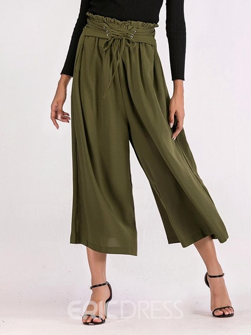 Ericdress Loose Lace-Up Plain Straight Ankle Length Casual Pants