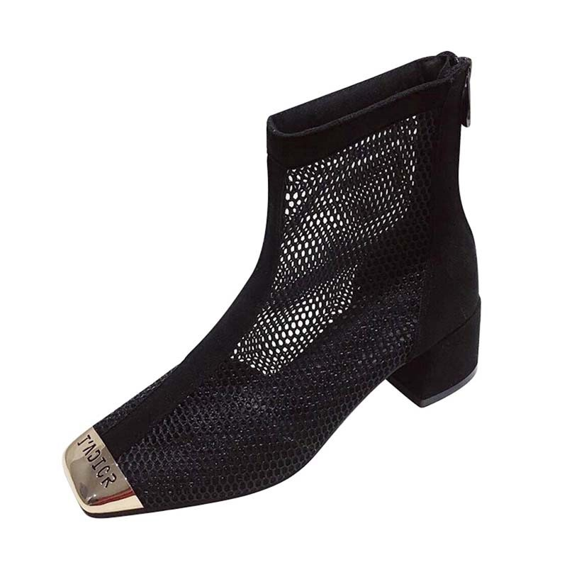 Ericdress Square Toe Patchwork Back Zip Women's Ankle Boots