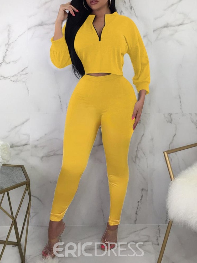 Ericdress Plain Pullover Stand Collar Two Piece Sets