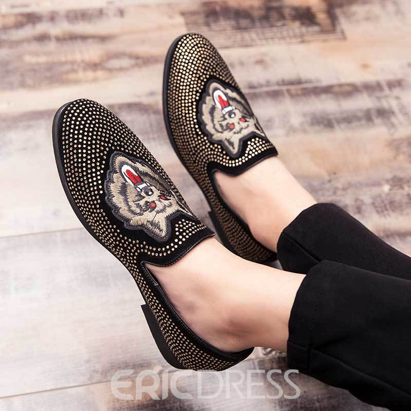 Ericdress Animal Pointed Toe Low-Cut Upper Slip-On Men's Dres Shoes