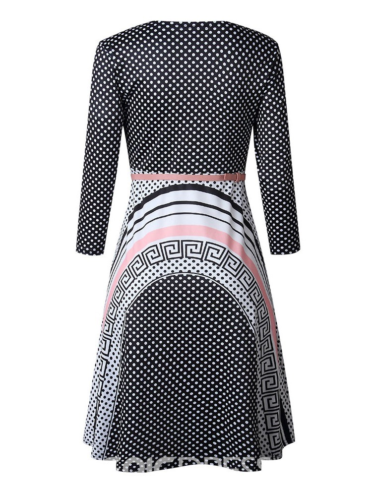 Ericdress Print Round Neck Three-Quarter Sleeve High Waist Geometric Fall Dress