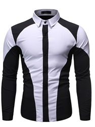 Ericdress Button Lapel Color Single-Breasted Mens Slim Shirt