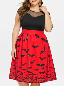 Ericdress Halloween Costume Plus Size Patchwork Color Block Mid-Calf Cap Sleeve Dress