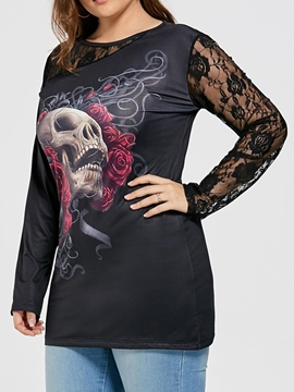 Halloween Costume Ericdress Plus Size Mid-Length Round Neck Skull Slim T-Shirt