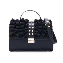 Ericdress PU Beads Pleated Rectangle Tote Bags