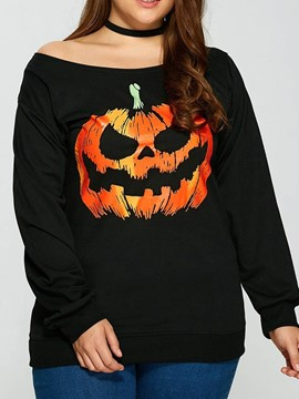 Halloween Costume Ericdress Plus Size Mid-Length Off Shoulder Long Sleeve Loose T-Shirt