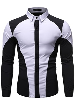Ericdress Button Lapel Color Single-Breasted Men's Slim Shirt
