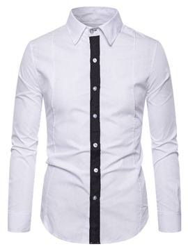 Ericdress Button Color Block Casual Single-Breasted Men's Shirt