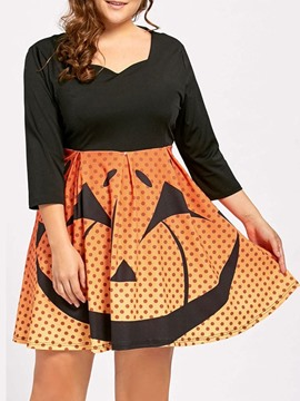 Ericdress Plus Size Above Knee Print Three-Quarter Sleeve A-Line Halloween Costume Dress