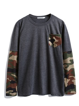 Ericdress Casual Camouflage Pocket Men's Slim T-shirt