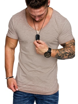 Ericdress Plain Round Neck Standard Mens Loose T-shirt